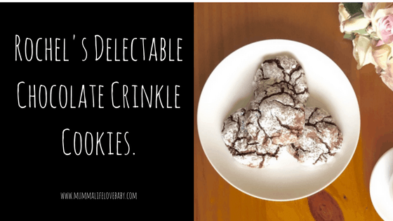 Rochel's Delectable Chocolate Crinkle Cookies.